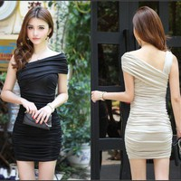 One Shoulder Unique Sexy Ultra slim Dresses Fold Evening Cocktail Party Black