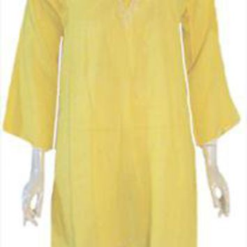 1970s Vintage Yellow Hippie Style Cotton Dress