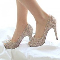 Delicate Sequins Golden Ladies High Heel Shoes : Wholesaleclothing4u.com