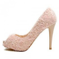 Good Quality Ladies Open Toe Pumps Pink : Wholesaleclothing4u.com