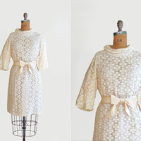 vintage 1960s dress - 60s lace cocktail dress - satin - winter wedding - size large