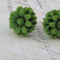Green Floral Earrings, Flower Earrings, Stud Post Earrings, Sterling Silver Stud Post Earrings, Resin Flower Cabochon Earrings