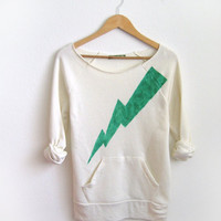 Green Lightning Bolt HAND STENCILED Deep Scoop by twostringjane