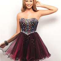 City Lights Rhinestone &amp; Tulle Strapless Short Prom Dress - Unique Vintage - Cocktail, Pinup, Holiday &amp; Prom Dresses.