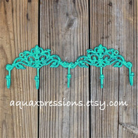 Metal Wall Hook /Laguna Green /Bright Shabby Chic Decor /Ornate Hanger /Key Holder /Bathroom Fixture /Bedroom /Mud Room Rack /Nursery