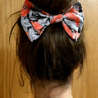 Black and Pink Floral Bow