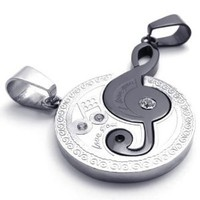 KONOV Jewelry 2pcs His & Hers Couples Gift Music Symbol Stainless Steel Pendant Love Necklace for Lover Valentine, Silver Black, with 18 inch and 22 inch Chain: Jewelry: Amazon.com