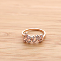 LOVE ring with crystals, in pinkgold | girlsluv.it