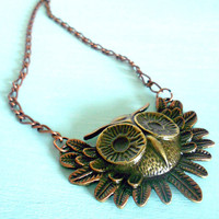 HOLIDAY SALE 15% off Copper &amp; Brass Owl Fantasy Necklace in Antique Brass and Copper Gilder&#x27;s Paste from Dryad Dreams