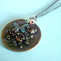 Holiday Sale 15% off MY DELICATE GARDEN Vintage Inspired Necklace with Roses and Butterfly in Antiqued Brass & Multicolored Patinas