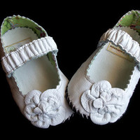 Mary Jane leather Soft Sole White Infant Shoes