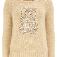 Ivory sequin owl jumper - DP London  - Clothing