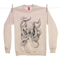 Street Market  Ohh Deer - When Cephalopods Attack - Sand Sweater By Jamie Mitchell