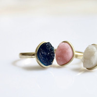 Drusy small stone Ring - Deep Blue, Pink and White
