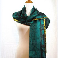 Silk sari scarf green and black batik with gold embroidery