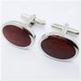 Oval Stainless Steel Cufflinks with Wood Inlay - Stainless Steel Cufflinks - Cufflinks by Material