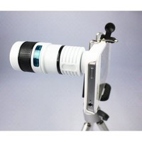 FOM Telescope 8X Zoom Telephoto Long Focal Camera Lens Tripod for iPhone 4 4S - White