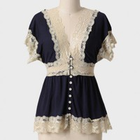 swiss romance lace cardi in navy at ShopRuche.com