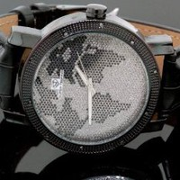 Super Techno Mens Diamond World Map Watch 0.10ct: Watches: Amazon.com