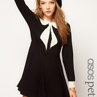 ASOS PETITE Exclusive Skater Dress With Peter Pan Collar at asos.com