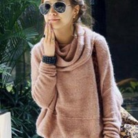 Simple High Neck Khaki Women Long Sweaters : Wholesaleclothing4u.com