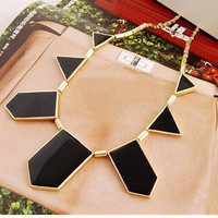 Fashion Black Geometric Shape Choker Bib Necklace by Fashion Accessories Store