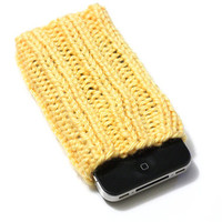 Knit Phone Cozy - iPhone Sleeve - Sunshine Yellow - Acrylic Yarn