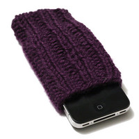 Knit Phone Cozy - iPhone Sleeve - Plum Purple - Acrylic Yarn