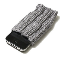 Knit Phone Cozy - iPhone Sleeve - Grey Heather - Acrylic Yarn