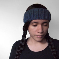custom knit earwarmer - the ceph headband in denim, or your color of choice