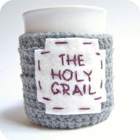Funny Coffee Mug Tea Cup Cozy Holy Grail gray by KnotworkShop