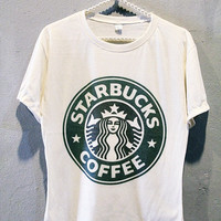 STARBUCKS T-Shirt Classic Coffee Tee Shirt Girl Women T Shirts Off White TShirt Size L