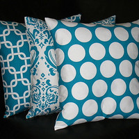 "Pillows Decorative Pillows TRIO chain link, damask, polkadot 18x18 inch Throw Pillow Covers teal 18"" Turquoise, White"