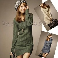 Crochet Vneck Long Sleeve Lantern Sweater Tops Mini Dress Sexy Slim Fit 2012 New