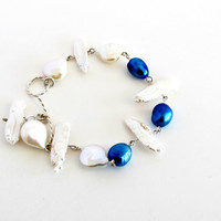 Pearl link bracelet in silver, gifts under 50