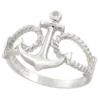Amazon.com: Sterling Silver Anchor Ring 9/16 inch (14 mm) long, sizes 4.5 - 9: Jewelry