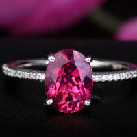 PINK TOURMALINE & VS DIAMOND 1.46ct -14K WHITE GOLD Halo Engagement RING Size 6