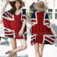 Womens Fashion Vintage Batwing UK Flag Union Jack Knitwear Sweater Top 2 COLORS 25% OFF