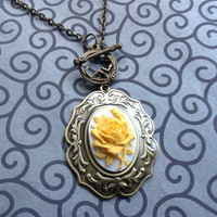 Antique bronze ROSE cameo pendant necklace in yellow