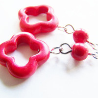Red Clover Howlite Earrings - affordable gifts - sale item - inexpensive treasures - high quality - bright - bold - cross