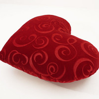 Heart Shaped Decorative Pillow Red Swirl Christmas Home Decor Big Size