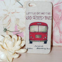 Special fabric design iphone 5 case, Kawaii iphone 5 case,Red bus iphone 5 case