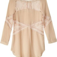 Shakuhachi Champagne Lace Panel Mini Dress