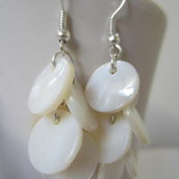 White Shell Disc Earrings