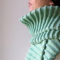 Scarf  Mint Green  Knitted in Merino Blend Wool by branda on Etsy