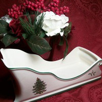 Spode Sleigh Christmas Tree Pattern Decorative Serving Dish Vintage Home Decor