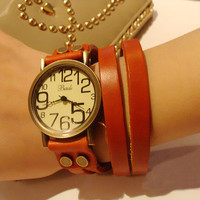 Vintage Bronze Leather punk style cowhide Bracelet Watch  by unusual