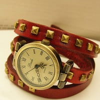 Studded Leather Vintage bronze Bracelet Watch by unusual