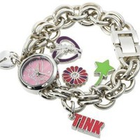 Disney Women's TK2022 Tinkerbell Pink Sunray Dial Charm Bracelet Watch: Watches: Amazon.com