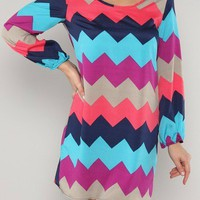 Blue Chevron Shift Dress